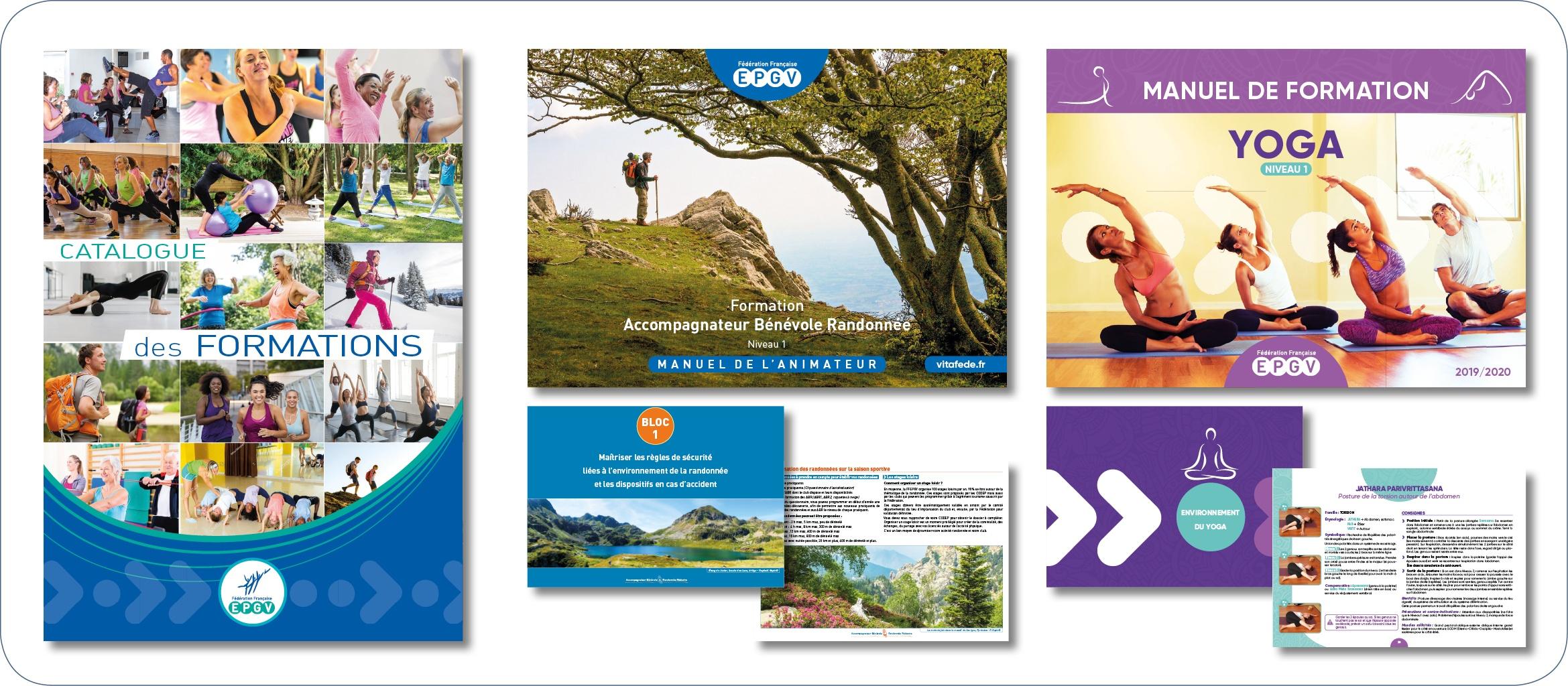 Catalogue et manuels de formation pour la Fédération EPGV, école de formation et association spécialiste du sport santé. Création, recherche iconographique, mise en page, relecture….