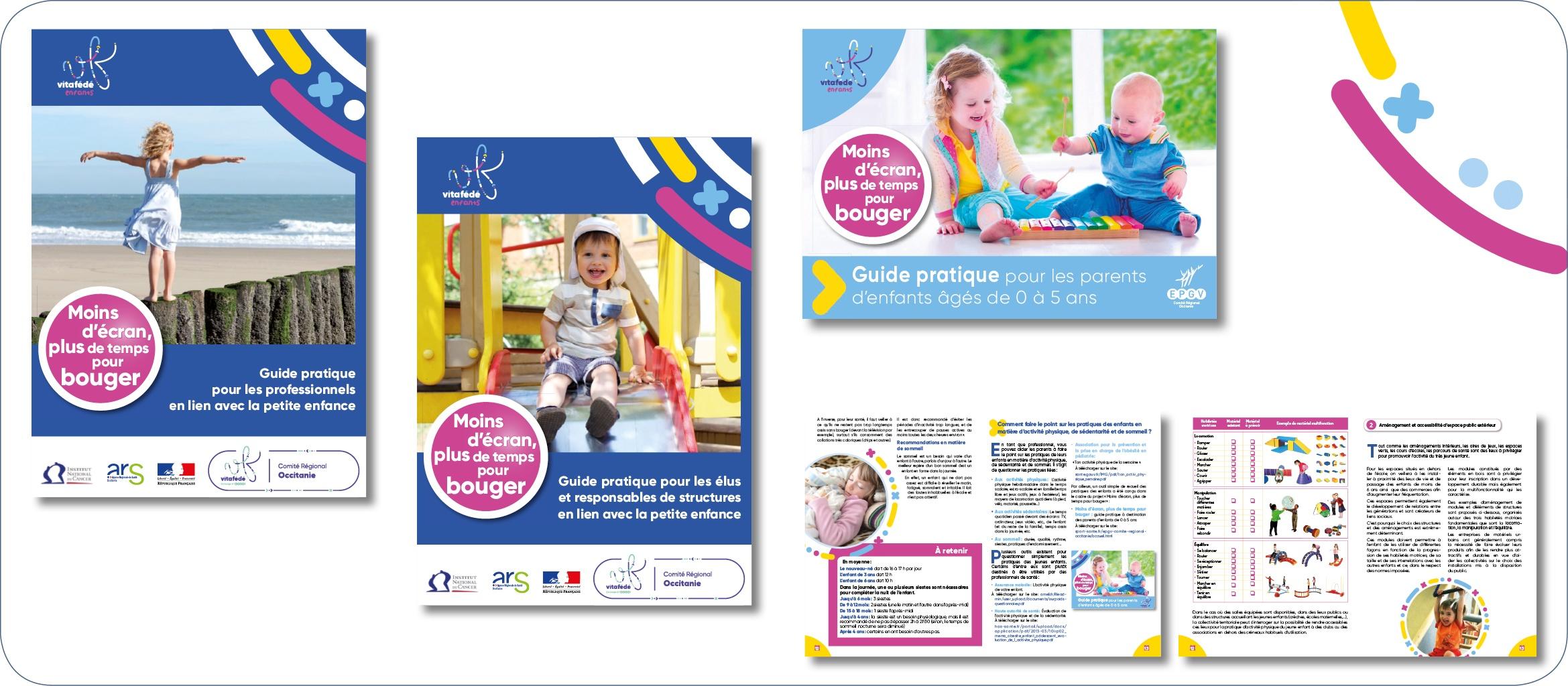 À l'initiative de l'INC et de l'ARS, création de trois guides pratiques destinés à sensibiliser les professionnels de l'enfance, les institutions et les parents aux risques liés au manque d'activité physique et à l'usage des écrans chez les plus jeunes.
