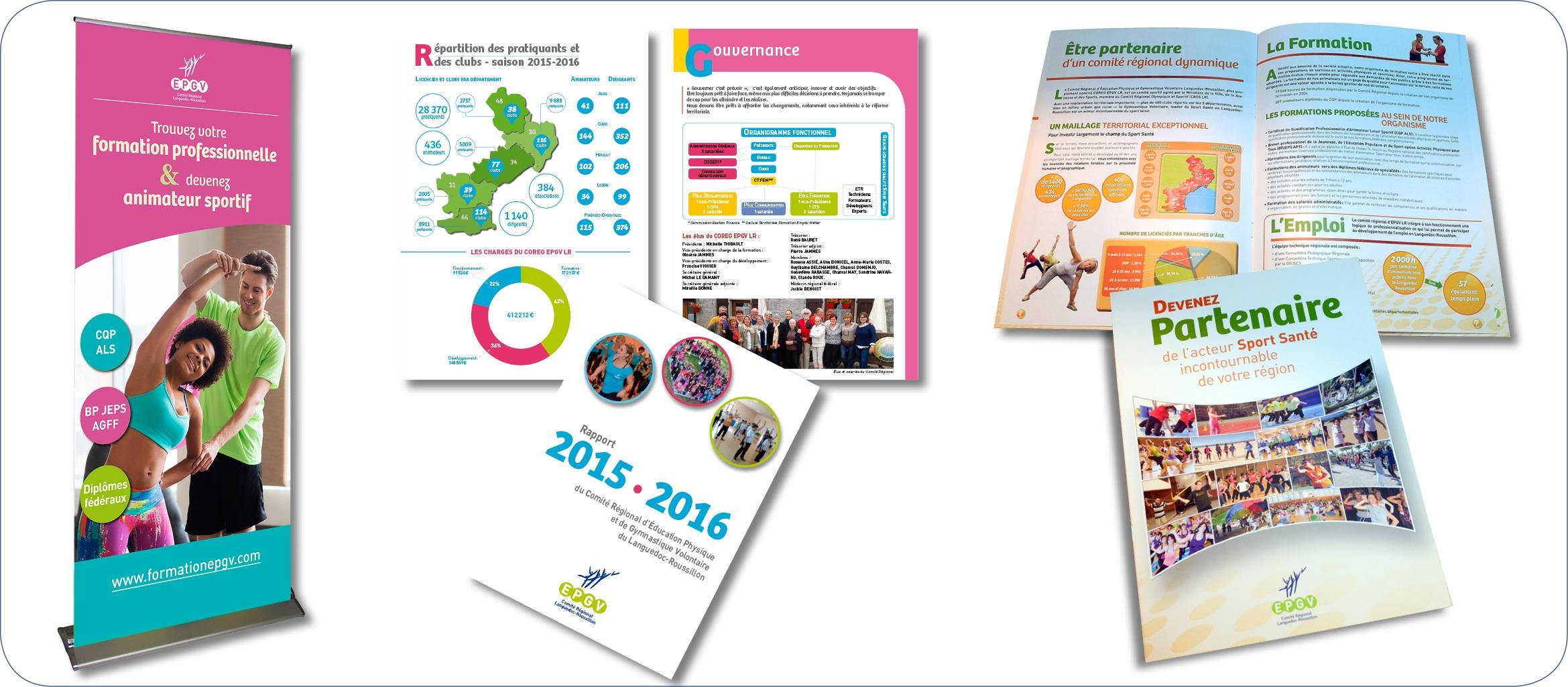Supports de communication pour le Comité Régional EPGV : Rapport annuel d'activités, brochure destinée aux partenaires, rollup.Création de graphiques et tableaux, recherche iconographique…