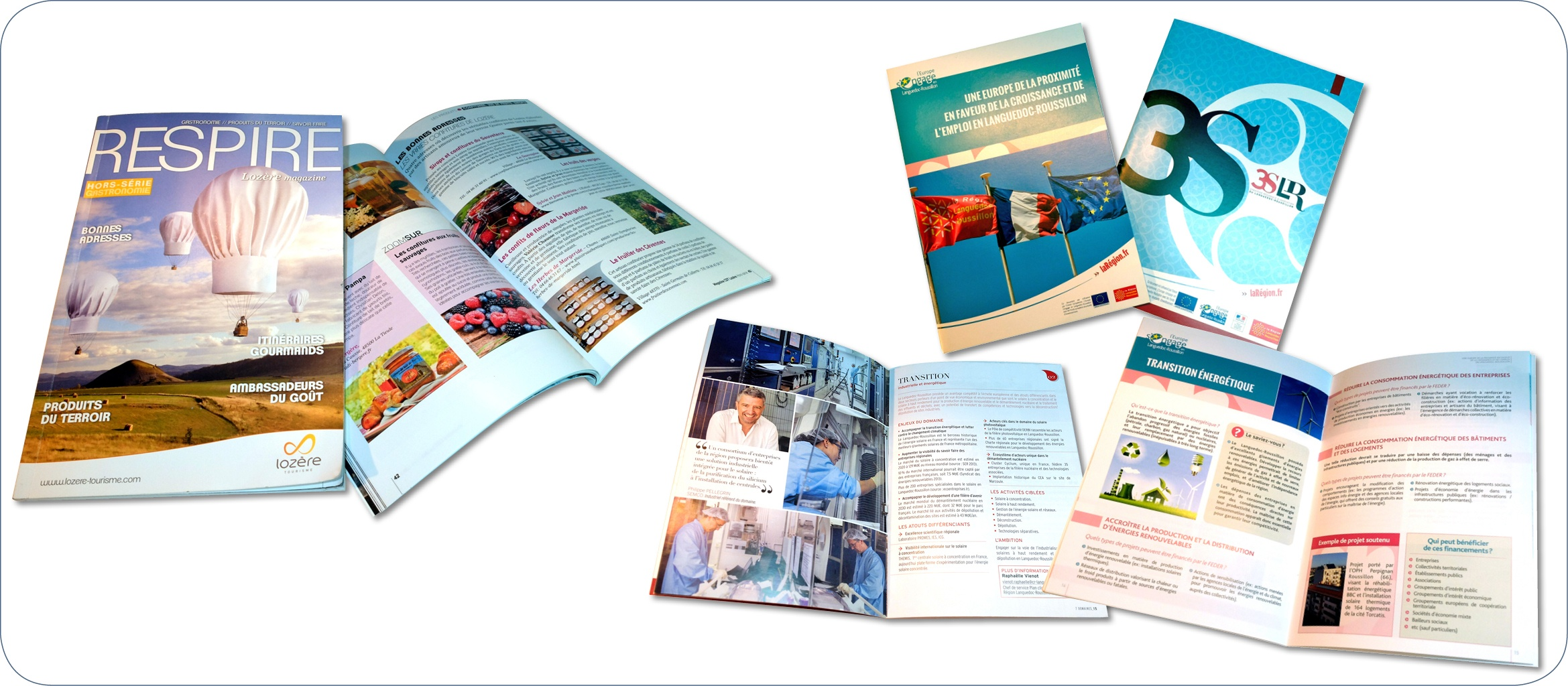 Brochures institutionnelles. Travaux d'exécution graphique pour le Comité du Tourisme de Lozère (brochures 92 pages) et la Région LR (brochures 28 et 24 p.), selon les chartes  correspondantes et les créa fournies.