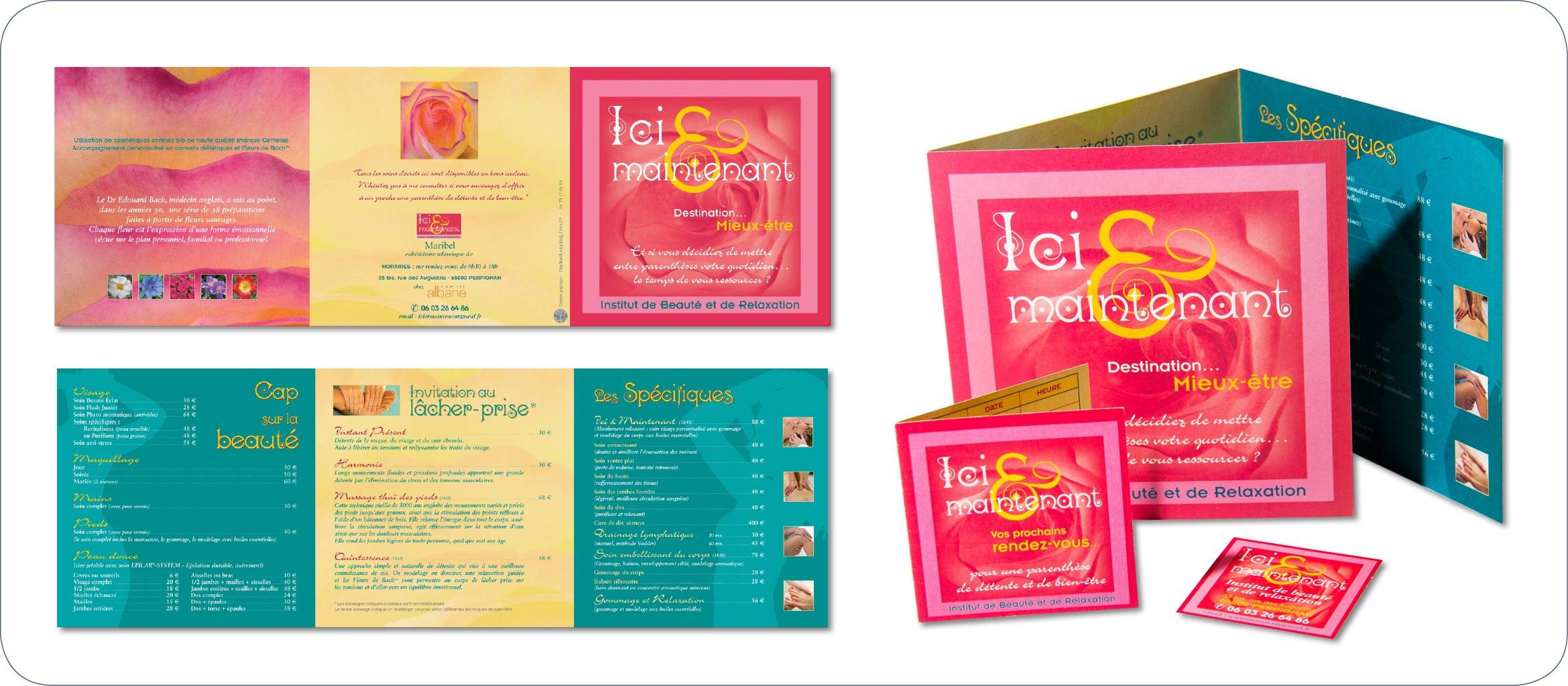 Dépliant 3 volets, carte de fidélité et carte de visite. Création du logo et de la charte graphique d'un institut de massage et de bien-être.  Impression sur papier recyclé.