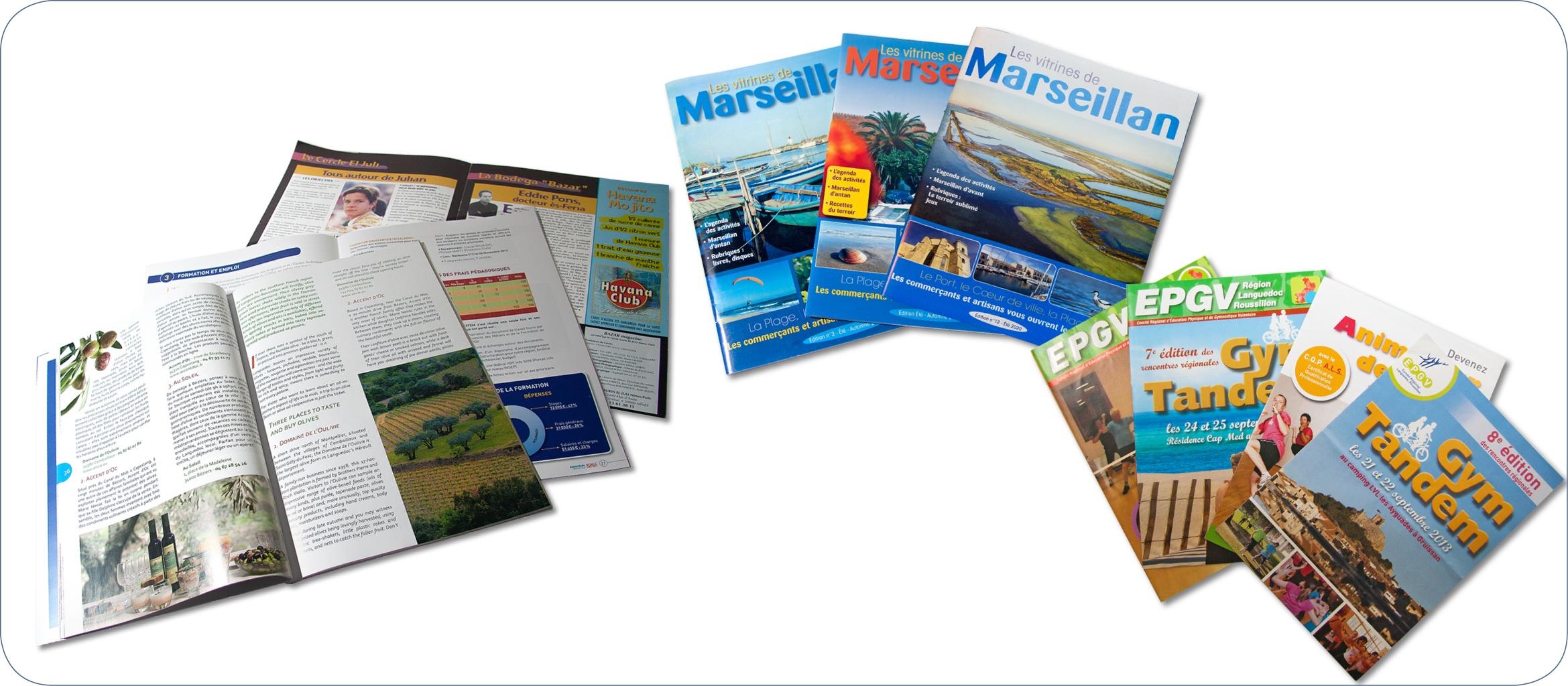 Magazines promotionnels. Création, mise en page, détourages, retouche des photos, création de tableaux, graphiques et encarts publicitaires…